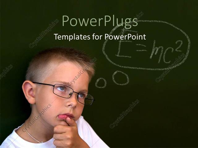 powerpoint template little boy with eye glasses over chalkboard