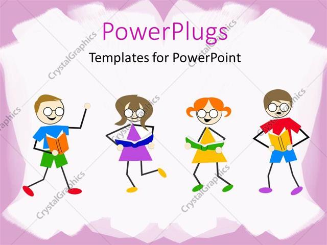 PowerPoint Template: Little kids dancing and reading book on white ...