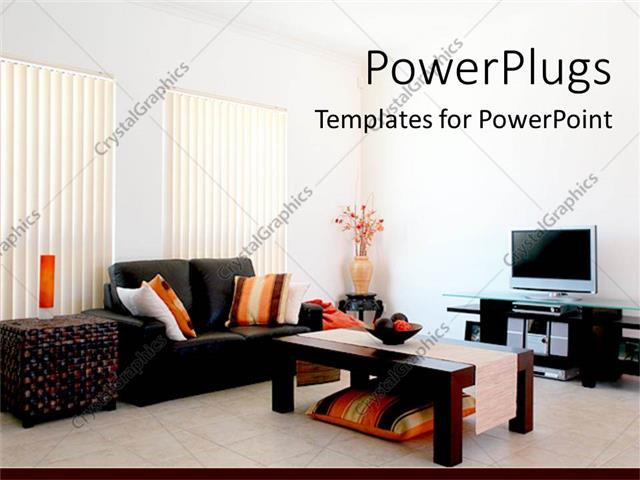 powerpoint template living room with modern furniture and tv vase
