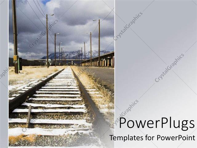 Powerpoint template a long rail road track dissaperaing in to the powerpoint template displaying a long rail road track dissaperaing in to the distance toneelgroepblik Images