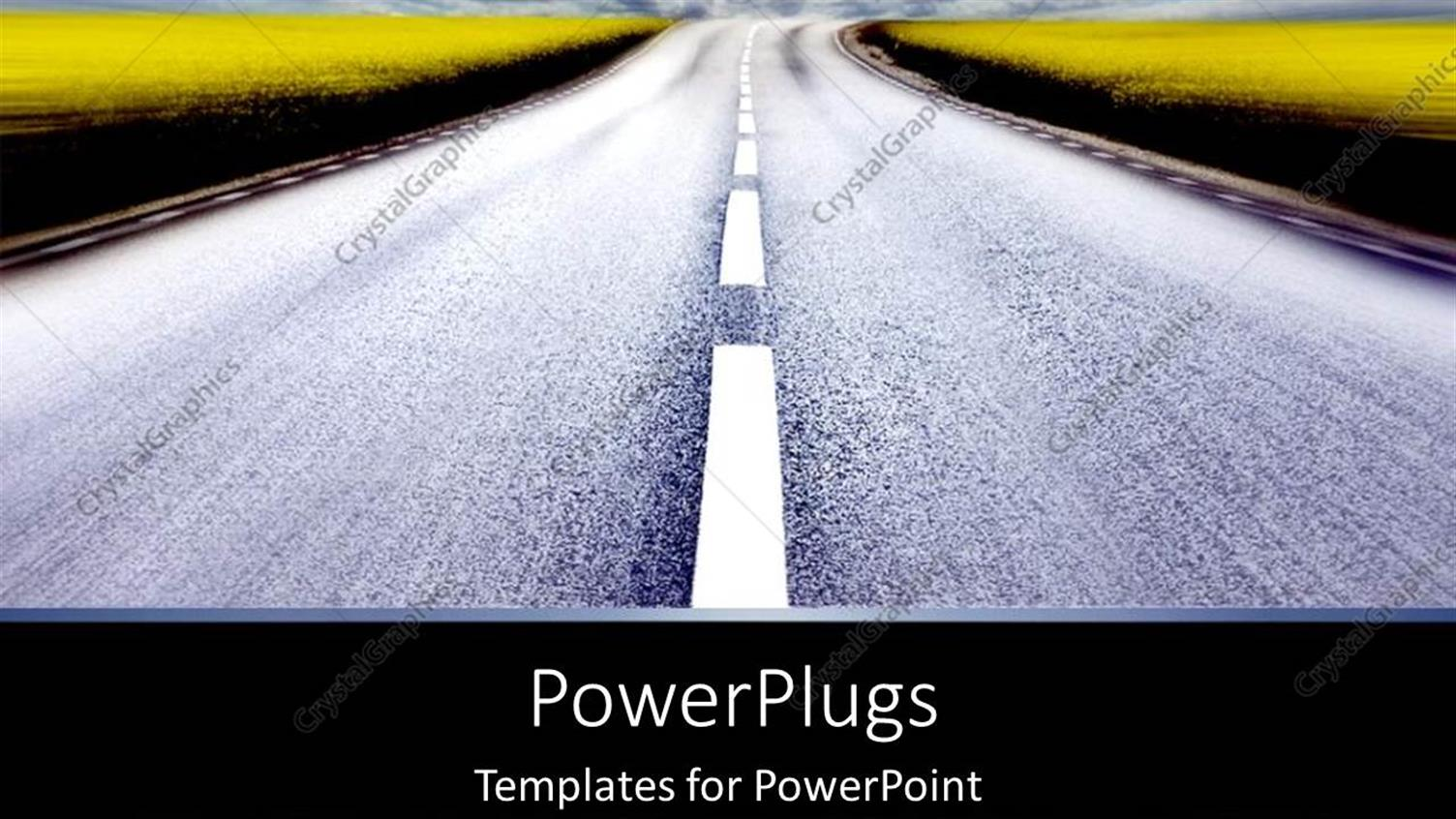 PowerPoint Template Displaying Long Road Driving to Destination as a Metaphor Journey Trip on Black Background