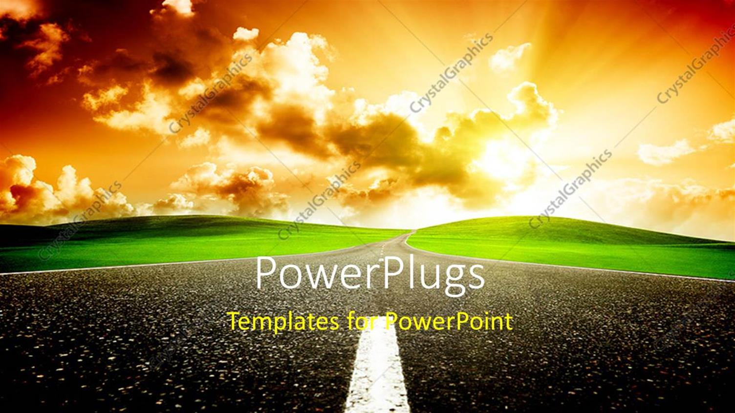 PowerPoint Template Displaying a Road to Redemption with Clouds in Background
