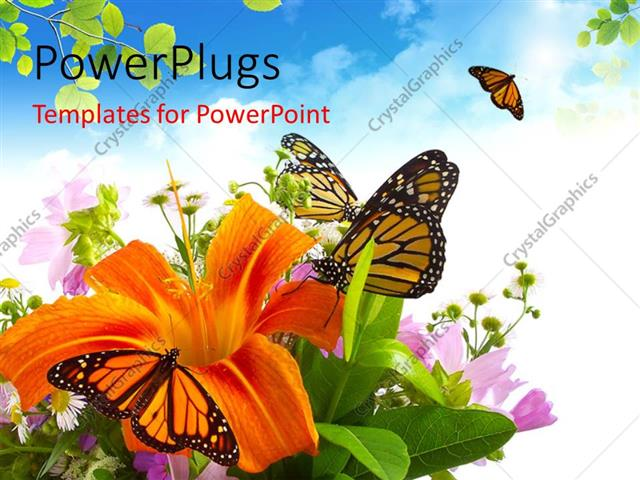 PowerPoint Template Displaying a Lot of Butterflies with Clouds in Background
