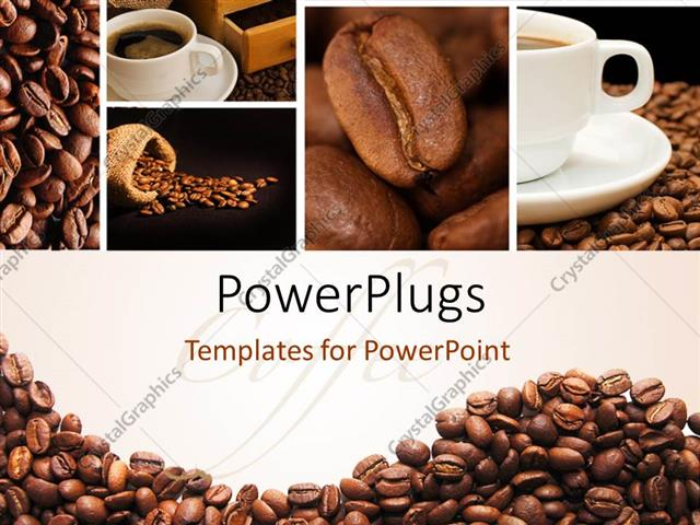 Powerpoint template a lot of coffee beans and a cup of coffee 7558 powerpoint template displaying a lot of coffee beans and a cup of coffee toneelgroepblik Image collections