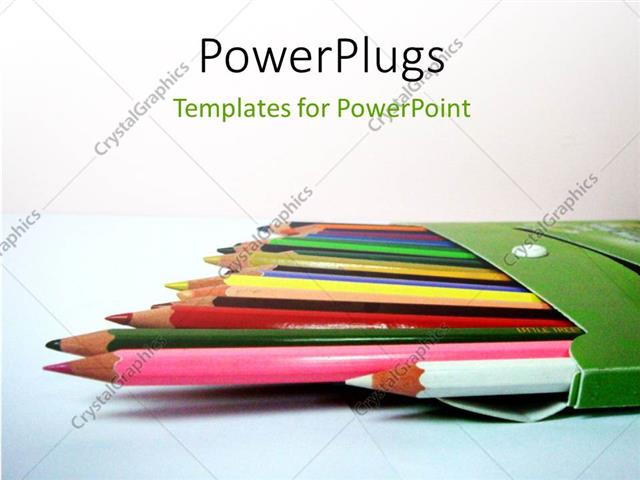 PowerPoint Template Displaying a Lot of Color Pencils and White Background