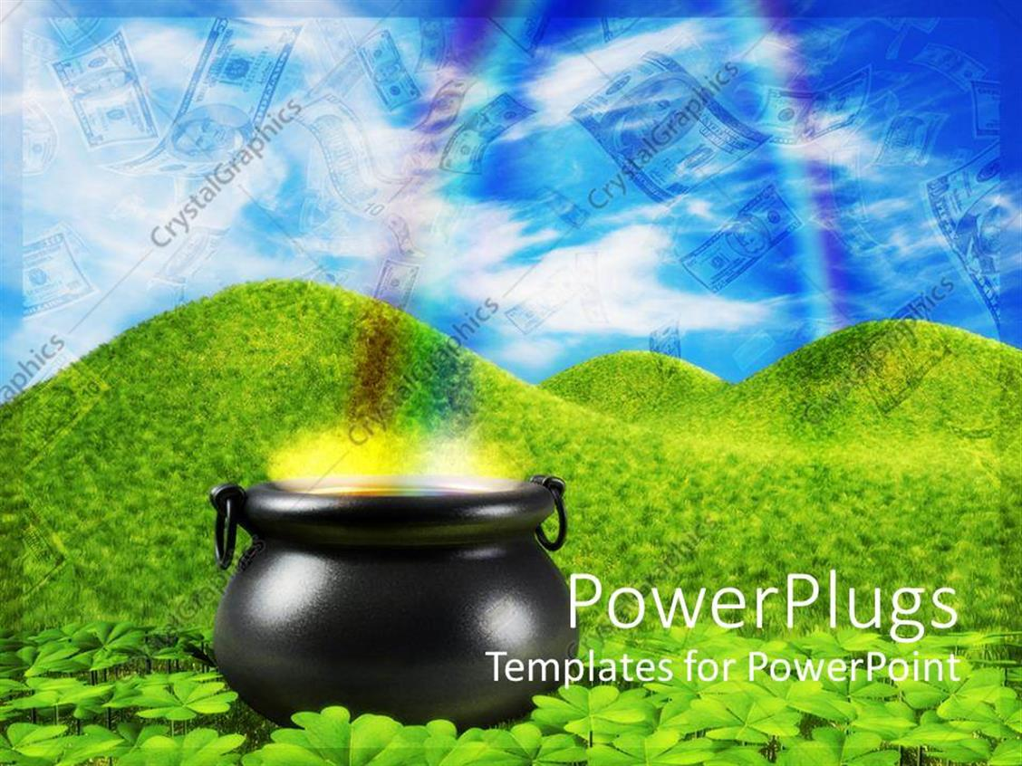PowerPoint Template Displaying a Lot of Greenery and a Pot with Dollars in the Background