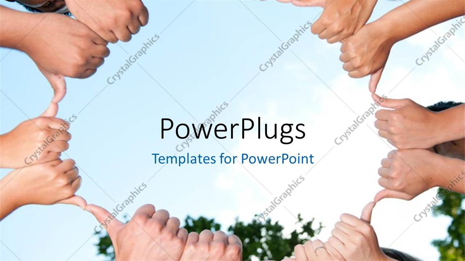 PowerPoint Template Displaying a Lot of Hands Joined Together by the Thumbs