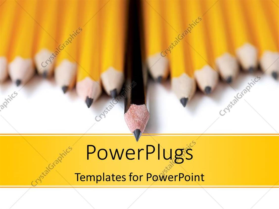 PowerPoint Template Displaying a Lot of Sharpened Pencils with Blurred Background