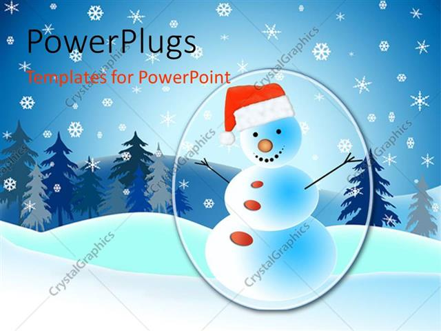 Powerpoint Template A Lot Of Snow And A Snowman In The Middle 26637