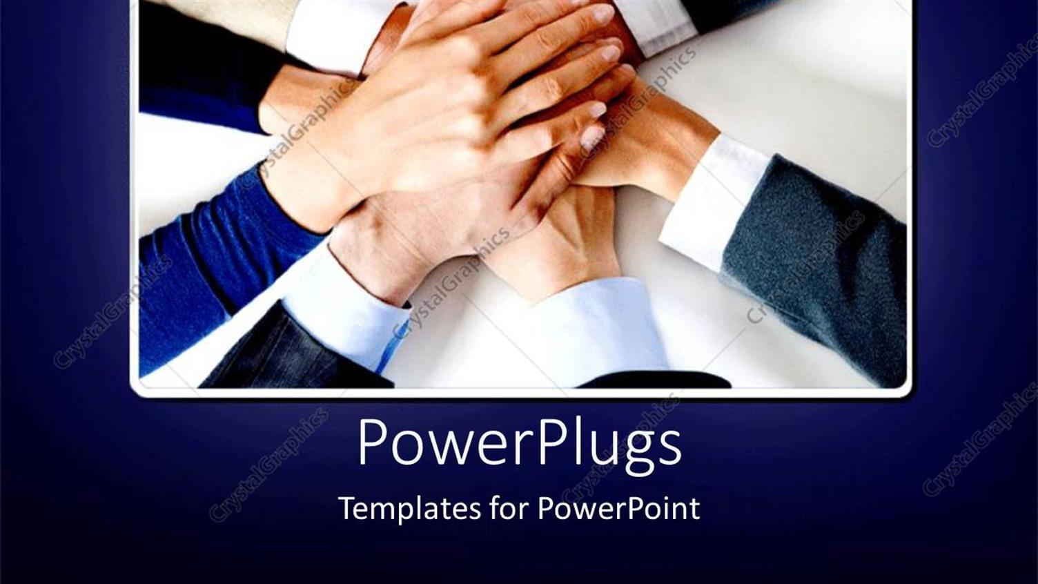 PowerPoint Template Displaying Lots of Adult Hands Joining Together Depicting Team Work