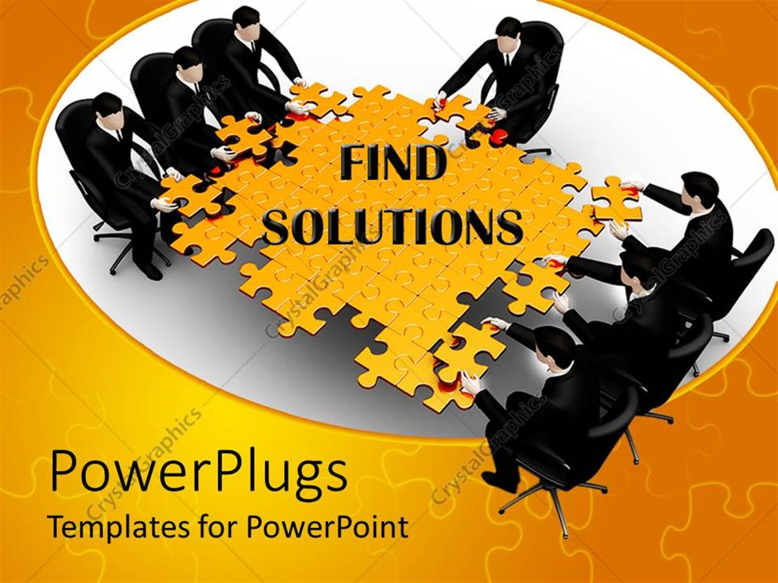 PowerPoint Template Displaying Lots of Business People Trying to Arrange a big Yellow Jig Saw Puzzle