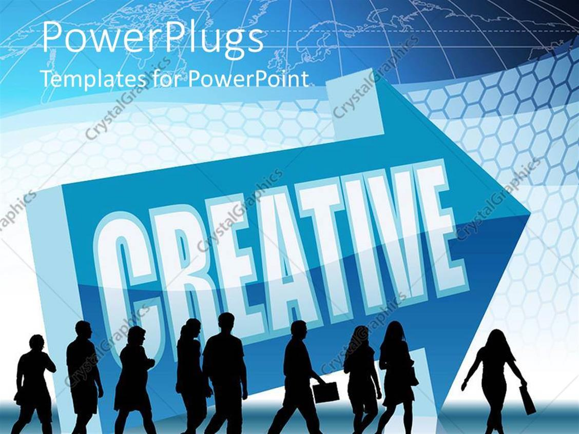 PowerPoint Template Displaying Lots of Business People Walking with a Creative Text