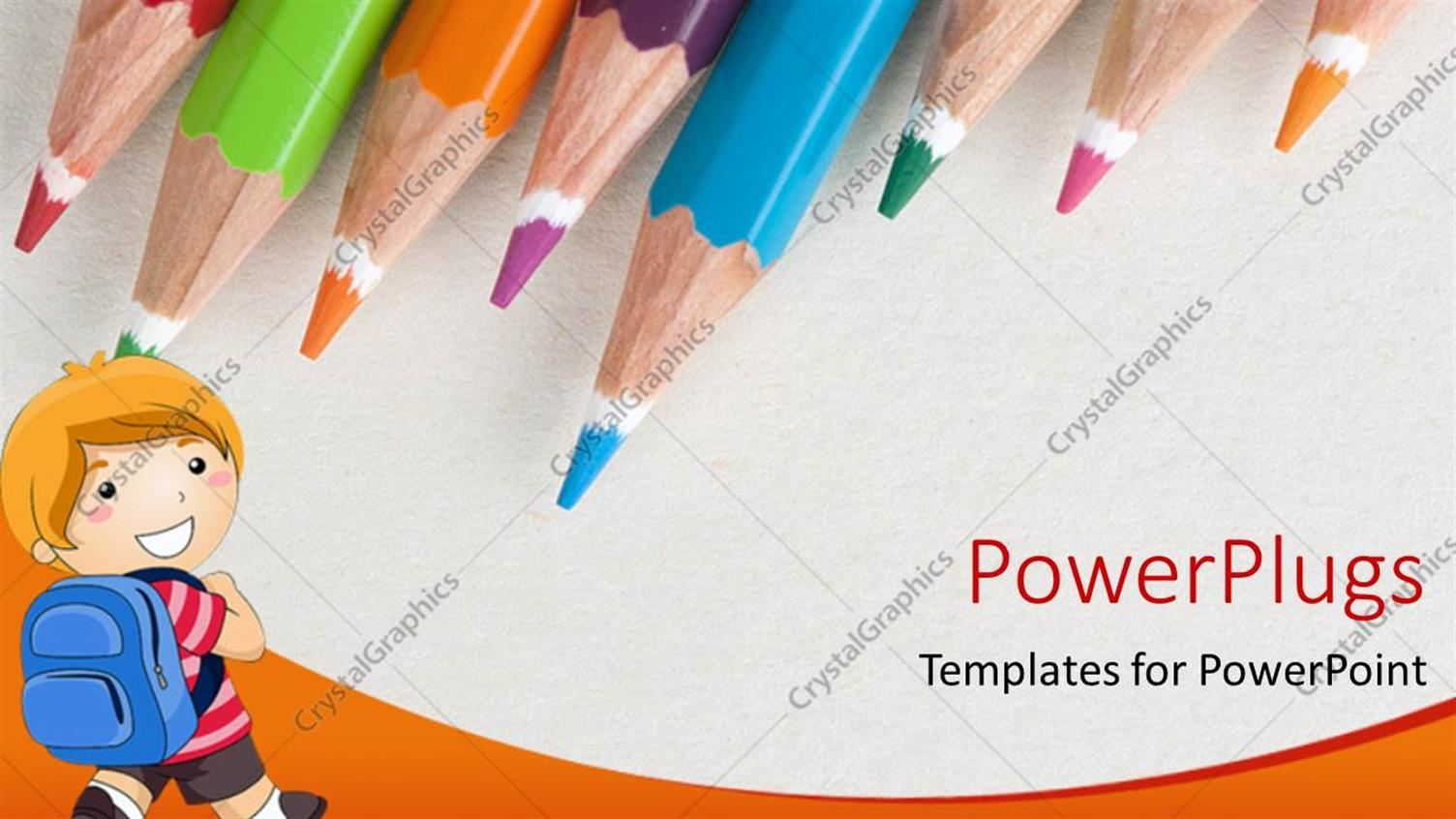 PowerPoint Template Displaying Lots of Color Pencils with a Boy Carrying a School Bag