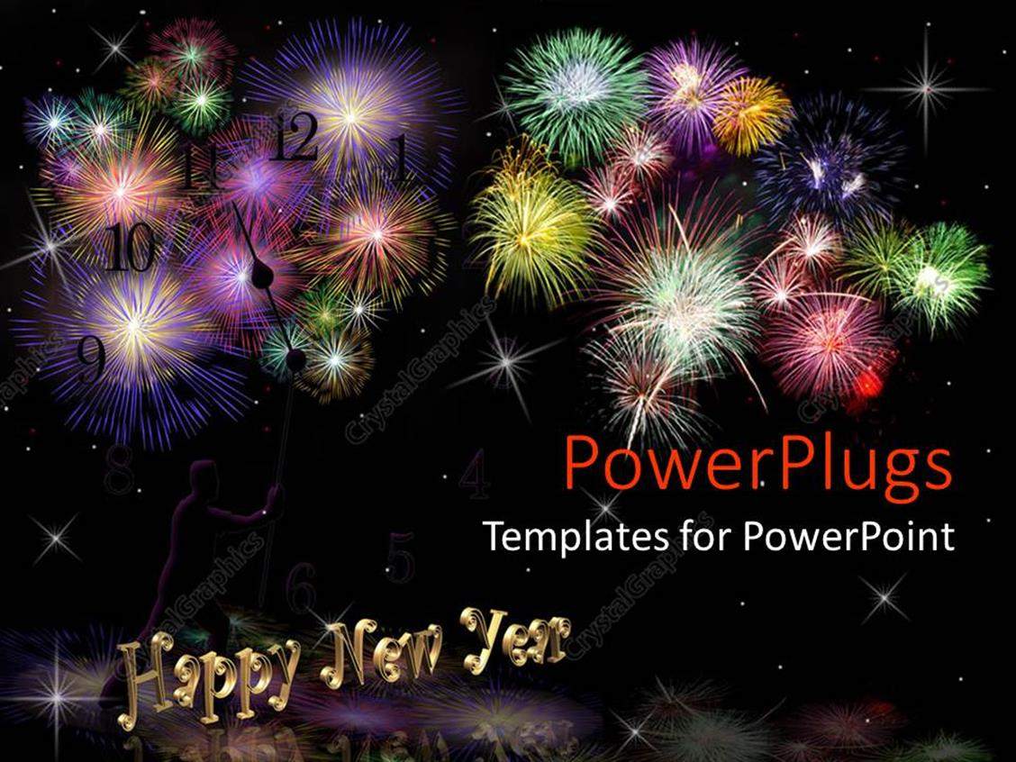 PowerPoint Template: Lots of fire works with happy new year text (15755)