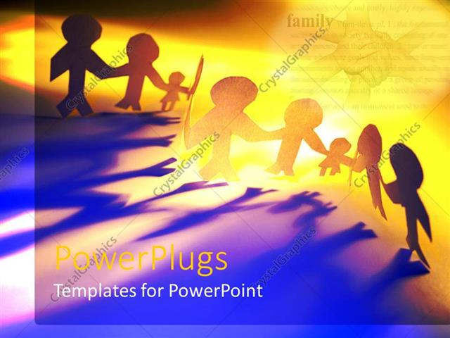 PowerPoint Template: Lots of human paper cut figures on a yellow