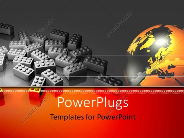 powerpoint template lots of lego bricks with a golden earth globe