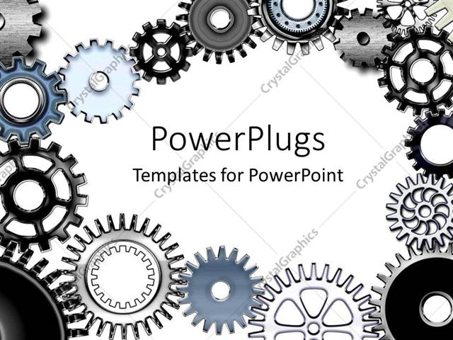 Powerpoint Template Lots Of Metallic Gears On A White Colored