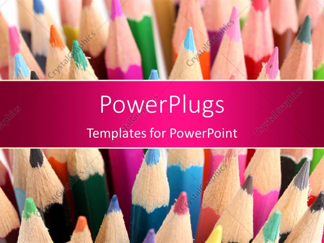 PowerPoint Template Displaying Lots of Multi Colored Color Pencils Stacked Up Together
