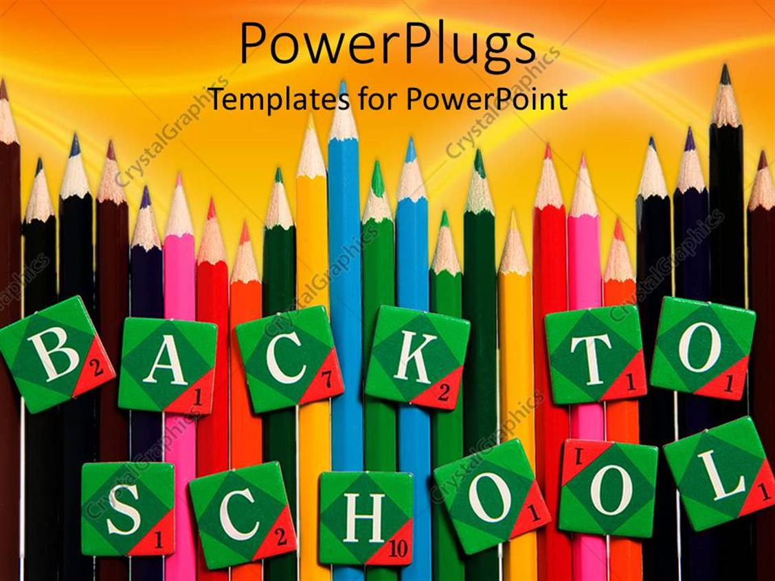 PowerPoint Template Displaying Lots of Multi Colored Pencils with Text which Spells Out the Word