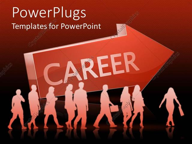 PowerPoint Template Displaying Lots of People Walking Beside a big Red Arrow with a Career Text
