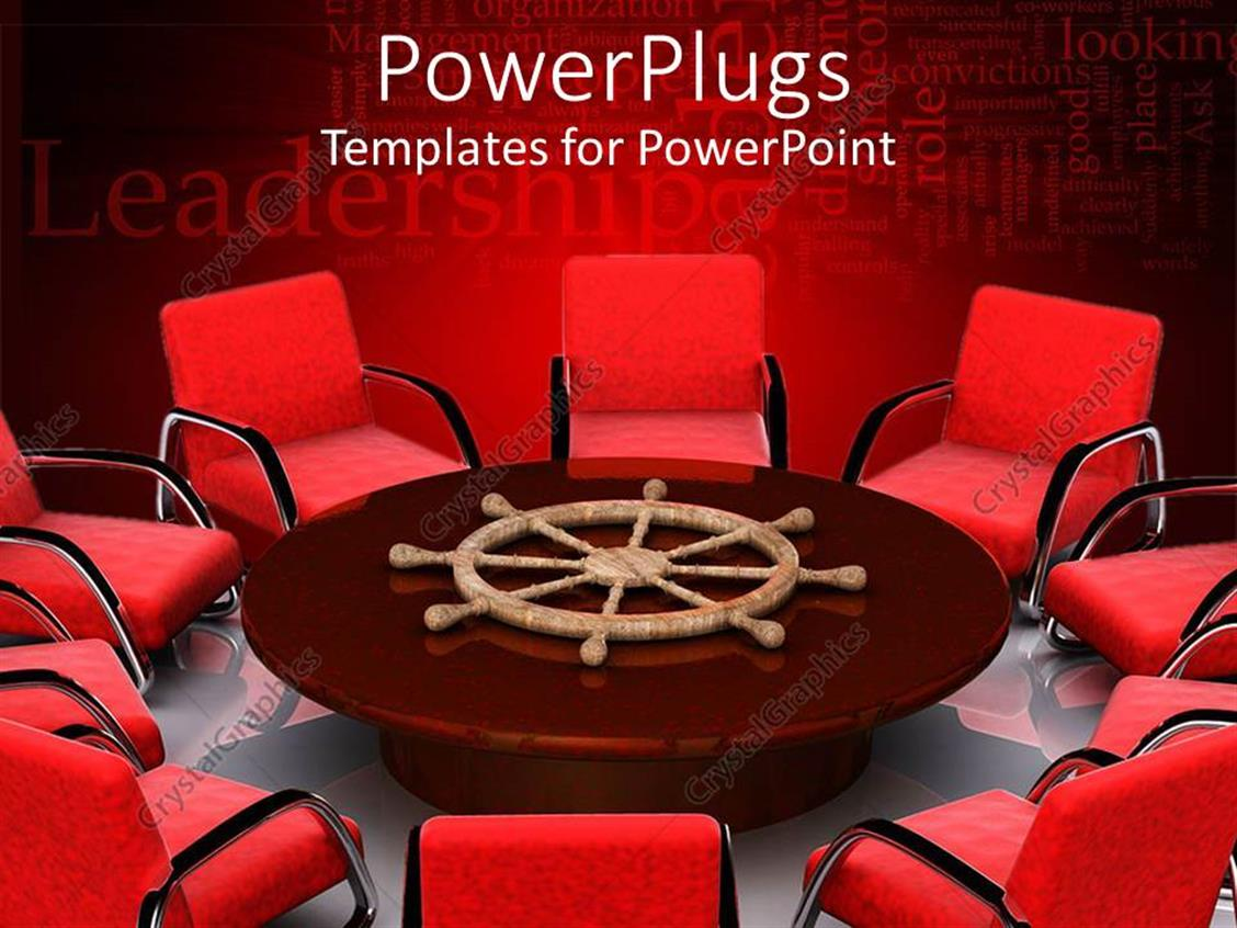 PowerPoint Template: Lots of red chairs around a brown round