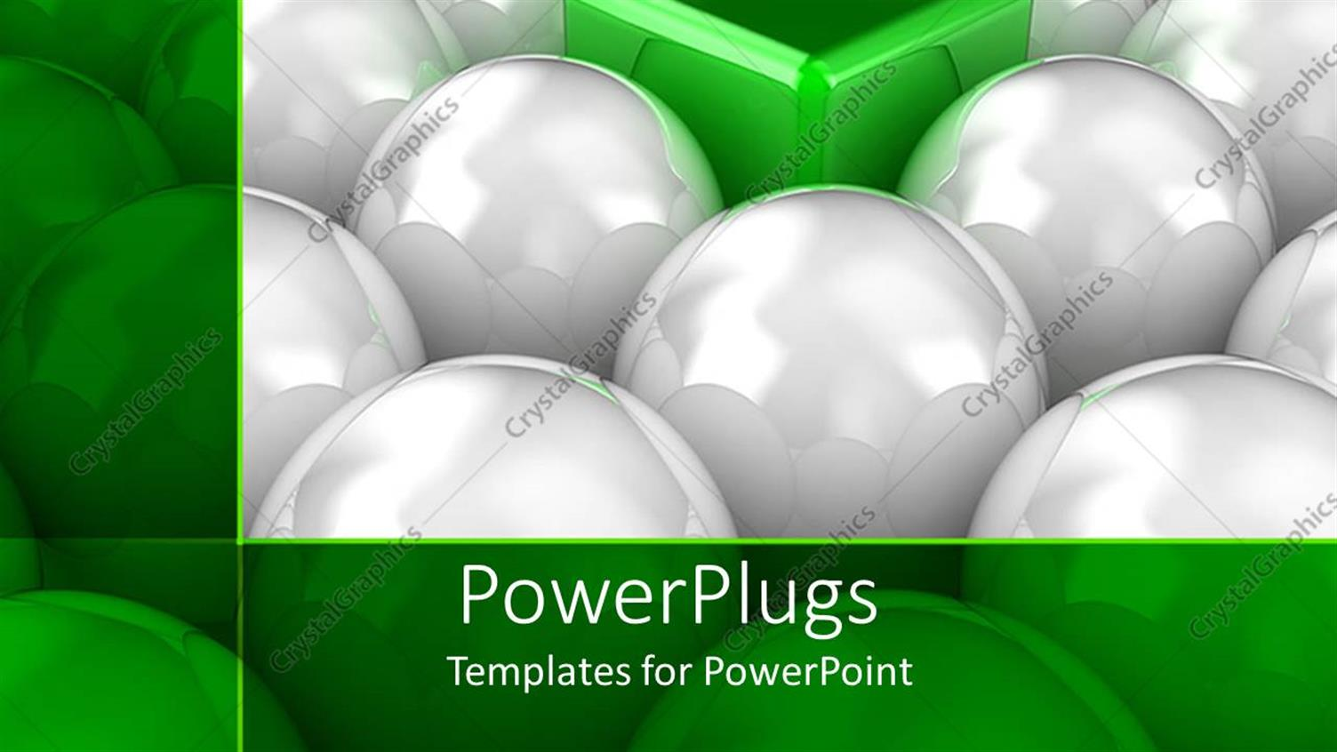 PowerPoint Template Displaying Lots of White Balls with a Green Cube in their Middle