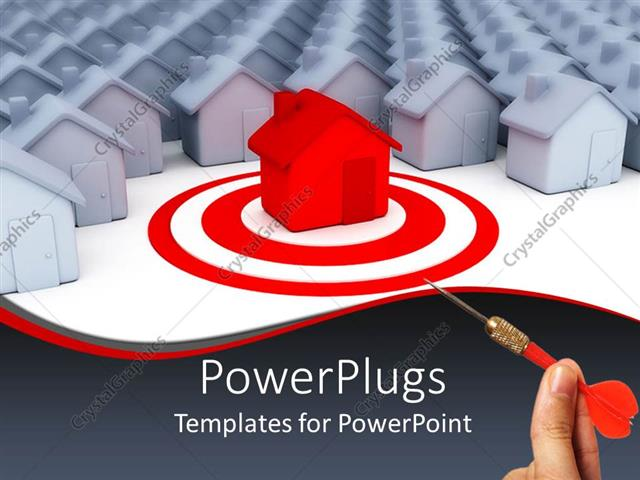 PowerPoint Template Displaying Lots of White Houses with a Red One as Target