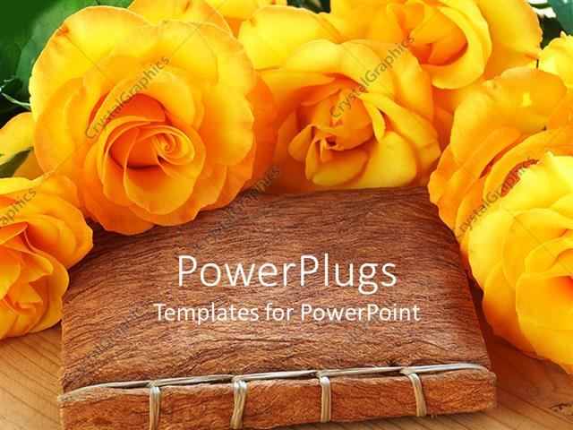 Powerpoint Template Lots Of Yellow Flowers Arranged Round A Hand