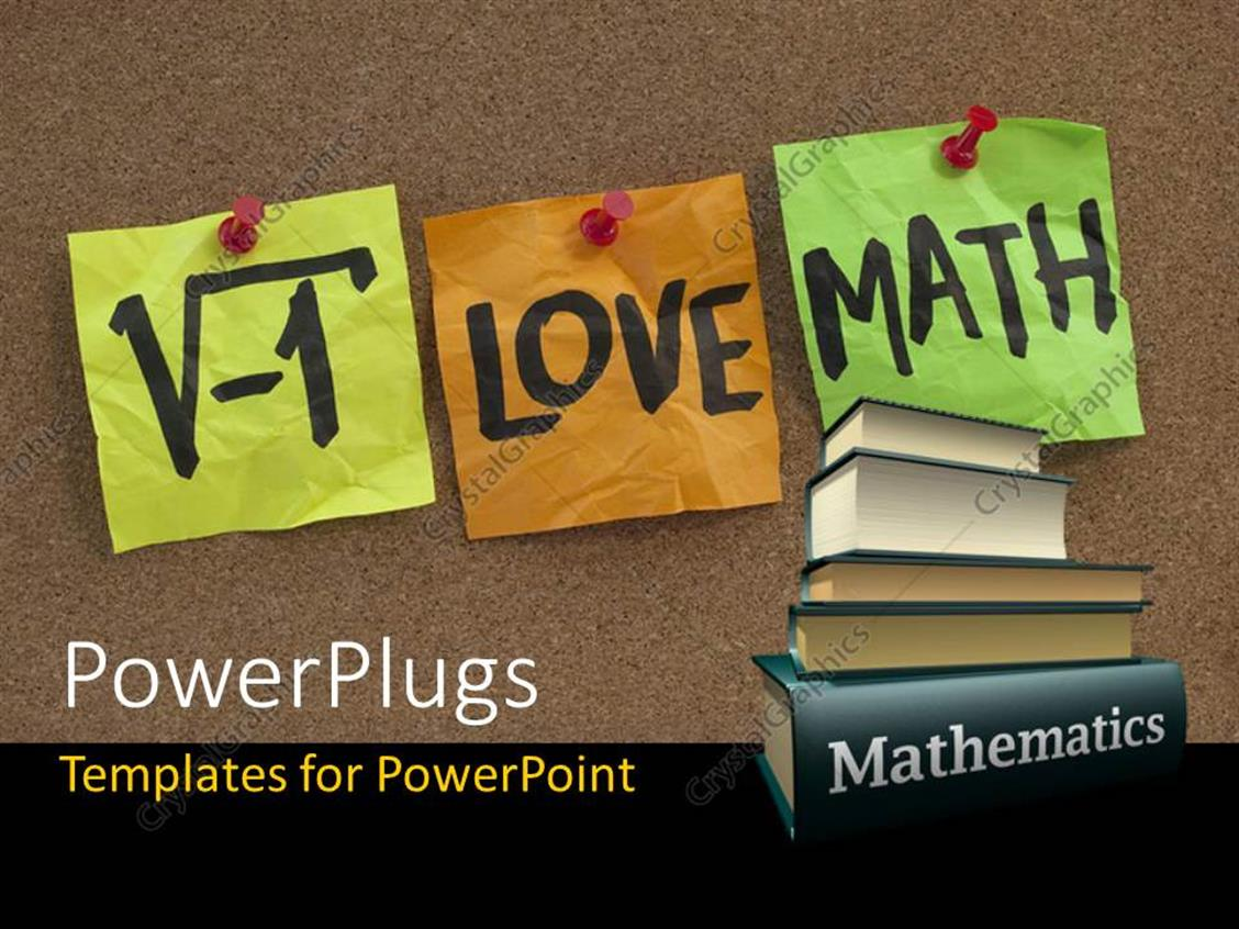 Powerpoint Template I Love Math Humorous Concept With