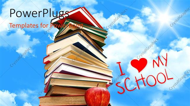 PowerPoint Template Displaying i Love my School Concept with Pile of Books with Sky