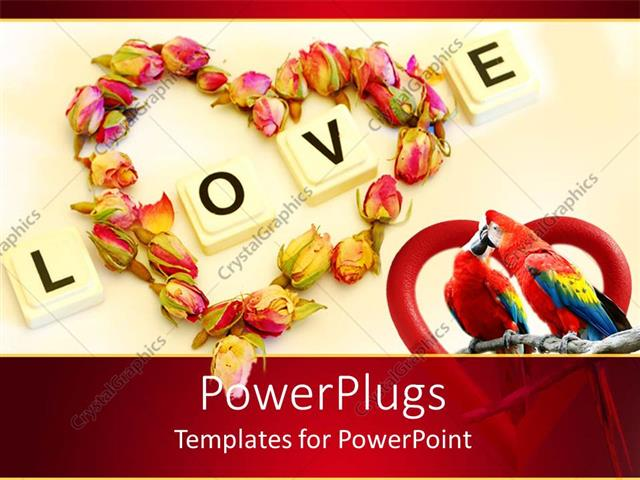 Powerpoint template love theme with word love and heart made of powerpoint template displaying love theme with word love and heart made of rose buds two kissing toneelgroepblik Choice Image