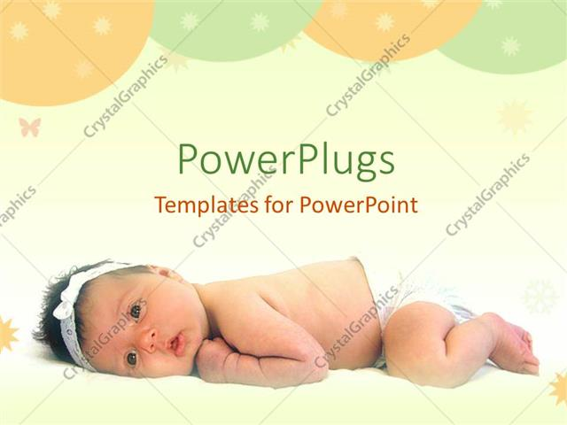 PowerPoint Template Displaying a Lovely Cute Baby Laying on a White Surface with Balloons
