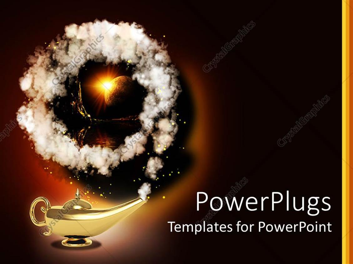 PowerPoint Template Displaying Magic Lamp with Genius Coming Out of Golden Lamp Earth Behind Smoke