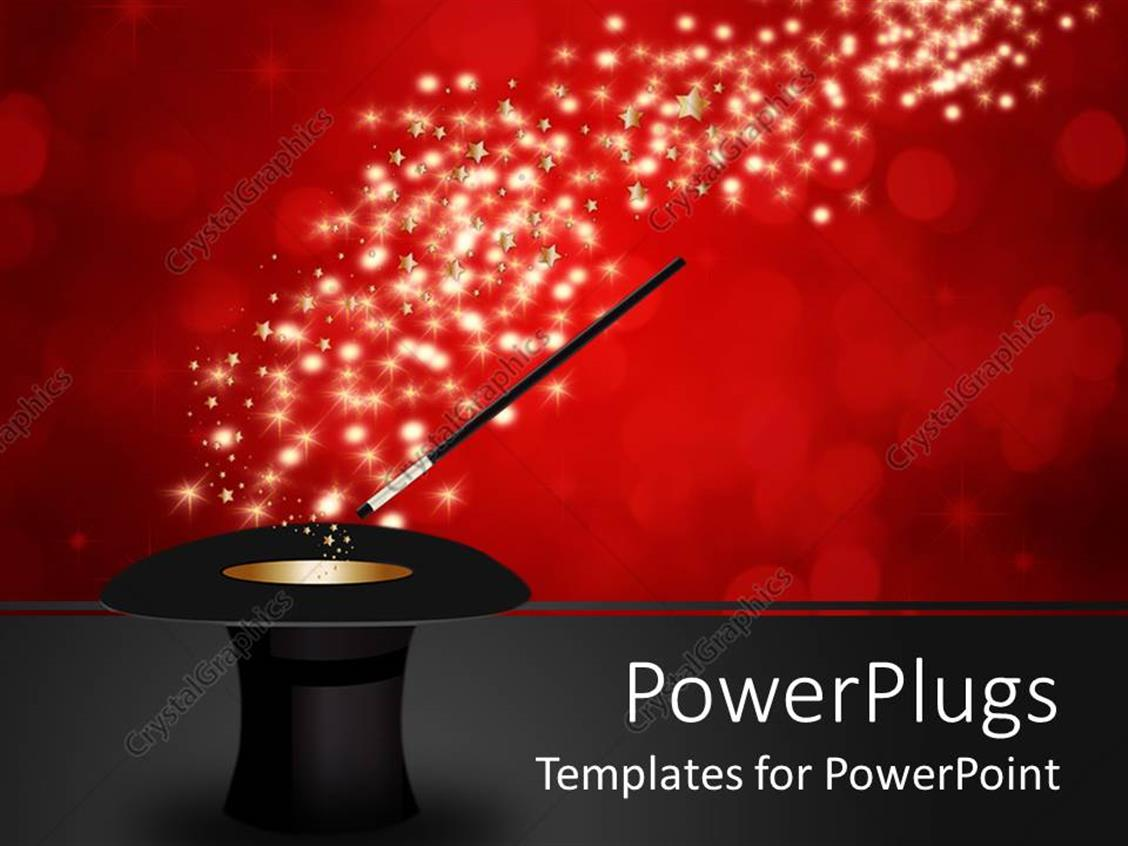 PowerPoint Template Displaying Magic Wand Performing Tricks on a Magician Hat on Red Background