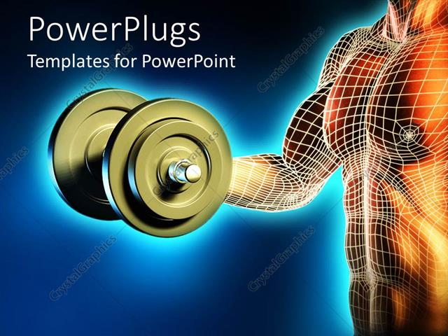 Powerpoint Template Male Body Lifting Dumbbell Weight Muscle