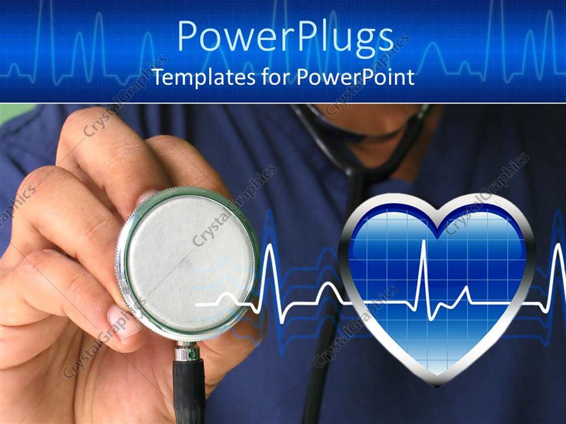 PowerPoint Template a male nurse ready to check heartbeat with strethoscope 9743