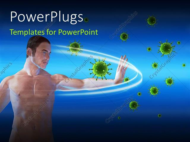 Powerpoint template a man blocking viruses over a blue background powerpoint template displaying a man blocking viruses over a blue background toneelgroepblik Image collections