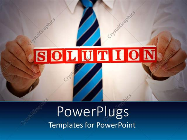 PowerPoint Template Displaying Man in Corporate Attire Holds Up Solution Sign