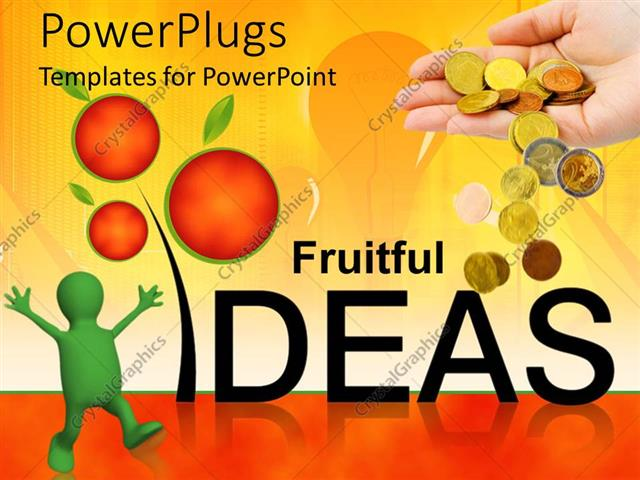 PowerPoint Template Displaying Man Happy as Fruitful Idea Yields Gold Coin Falling Out of Hand