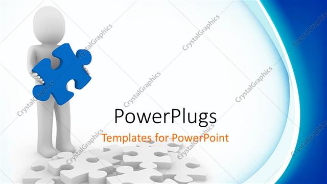 PowerPoint Template Displaying a Man Holding a Puzzle Piece with White and Blue Background as a Metaphor