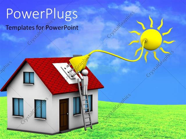 powerpoint template man who installs a solar energy system on a house 26755. Black Bedroom Furniture Sets. Home Design Ideas