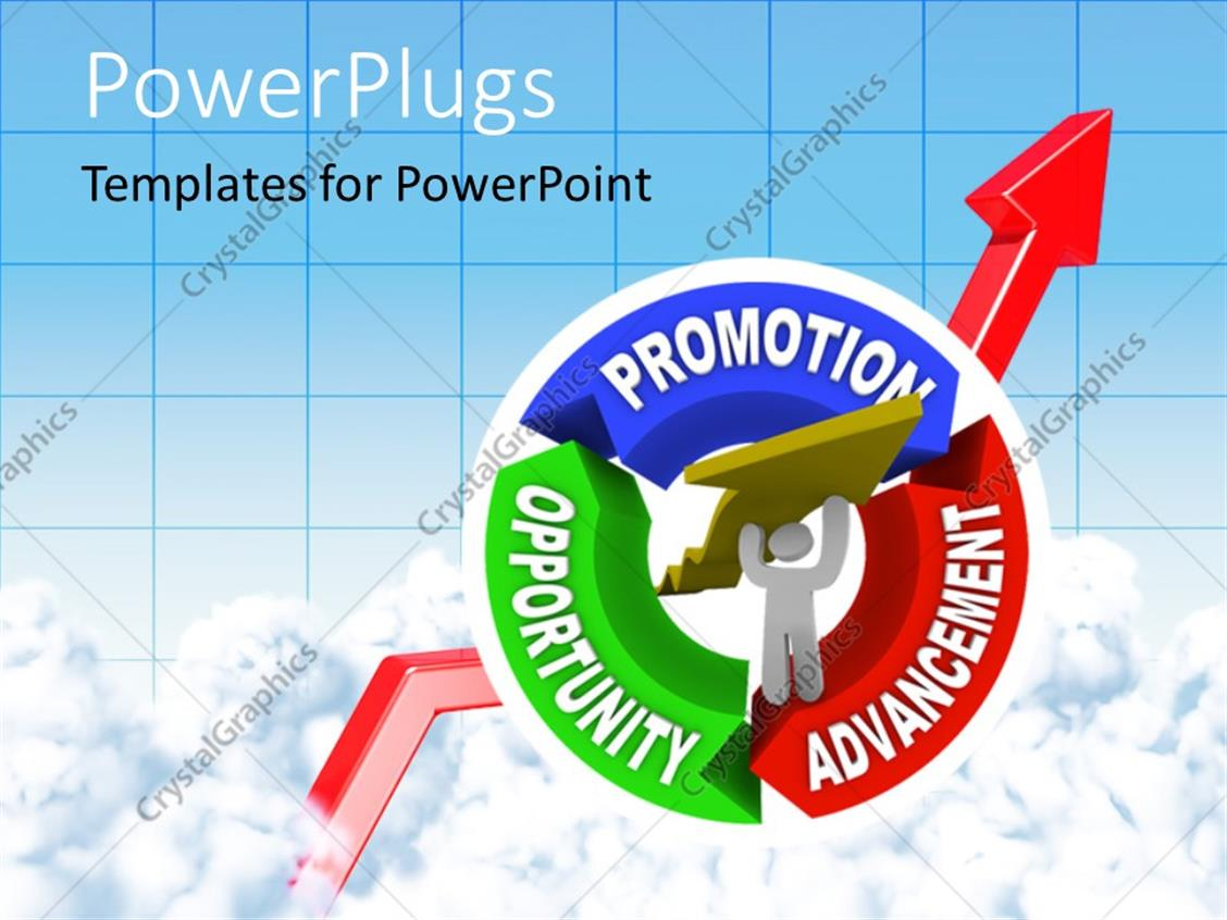 PowerPoint Template Displaying Man Lifting an Arrow Within a Circular Diagram Showing the Keywords