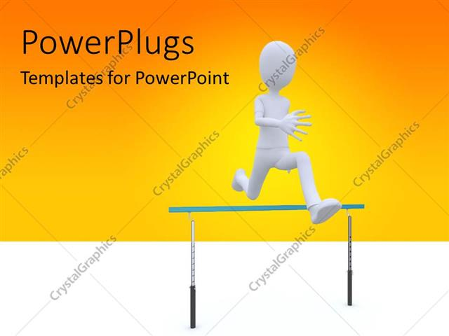 PowerPoint Template Displaying Man Running Over Barrier Depicting Overcoming Problems, Orange Color
