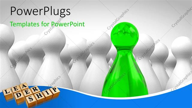 PowerPoint Template Displaying Lots of White Figures with a Green One in Between