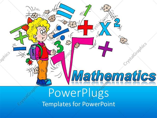 Powerpoint template math related symbols and the word mathematics powerpoint template displaying math related symbols and the word mathematics with a blond girl pupil on toneelgroepblik