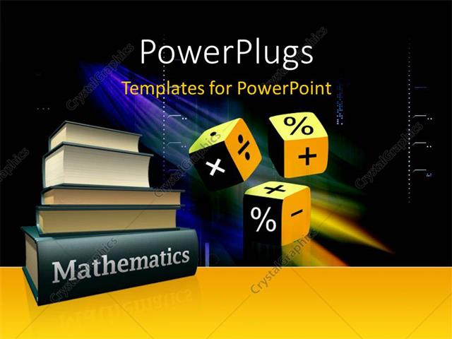 Powerpoint Template Mathematical Books And Three Cubes With