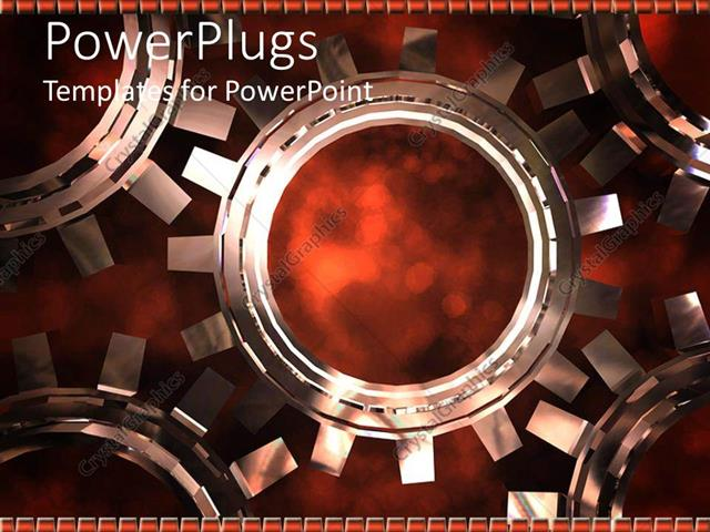Powerpoint template mechanical gear made of five 3d connected cogs powerpoint template displaying mechanical gear made of five 3d connected cogs on dark background toneelgroepblik Choice Image