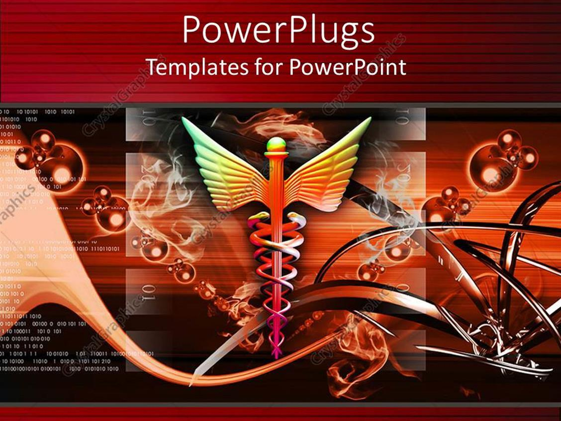 PowerPoint Template Displaying Medical Caduceus Symbol with Abstract Background