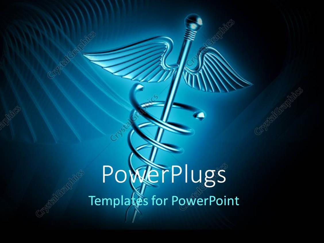 PowerPoint Template Displaying a Medical Related Sign with Bluish Background and Place for Text