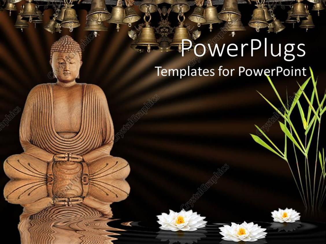 Powerpoint template meditating buddha with lotus flowers on water powerpoint template displaying meditating buddha with lotus flowers on water bamboo grass and bells izmirmasajfo